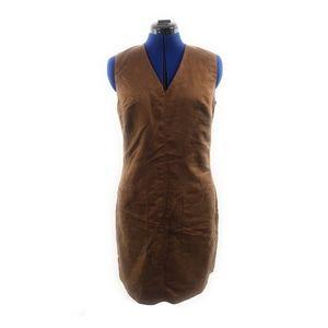 Vegan Brown Suede Look V Neck Shift Dress